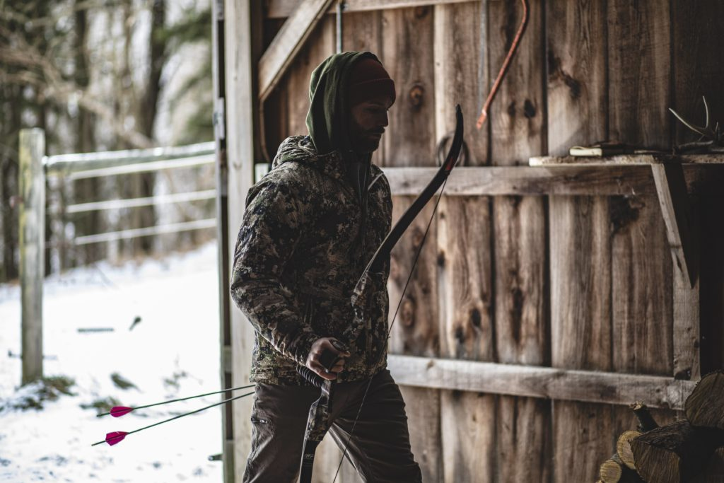 traditional archer, trad archer, archer in barn